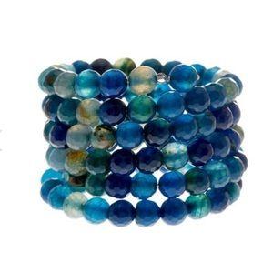 Savvy Cie, Faceted Blue Agate Coil Wrap Bracelet
